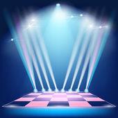 Podium floodlights and spotlights — Stock Vector