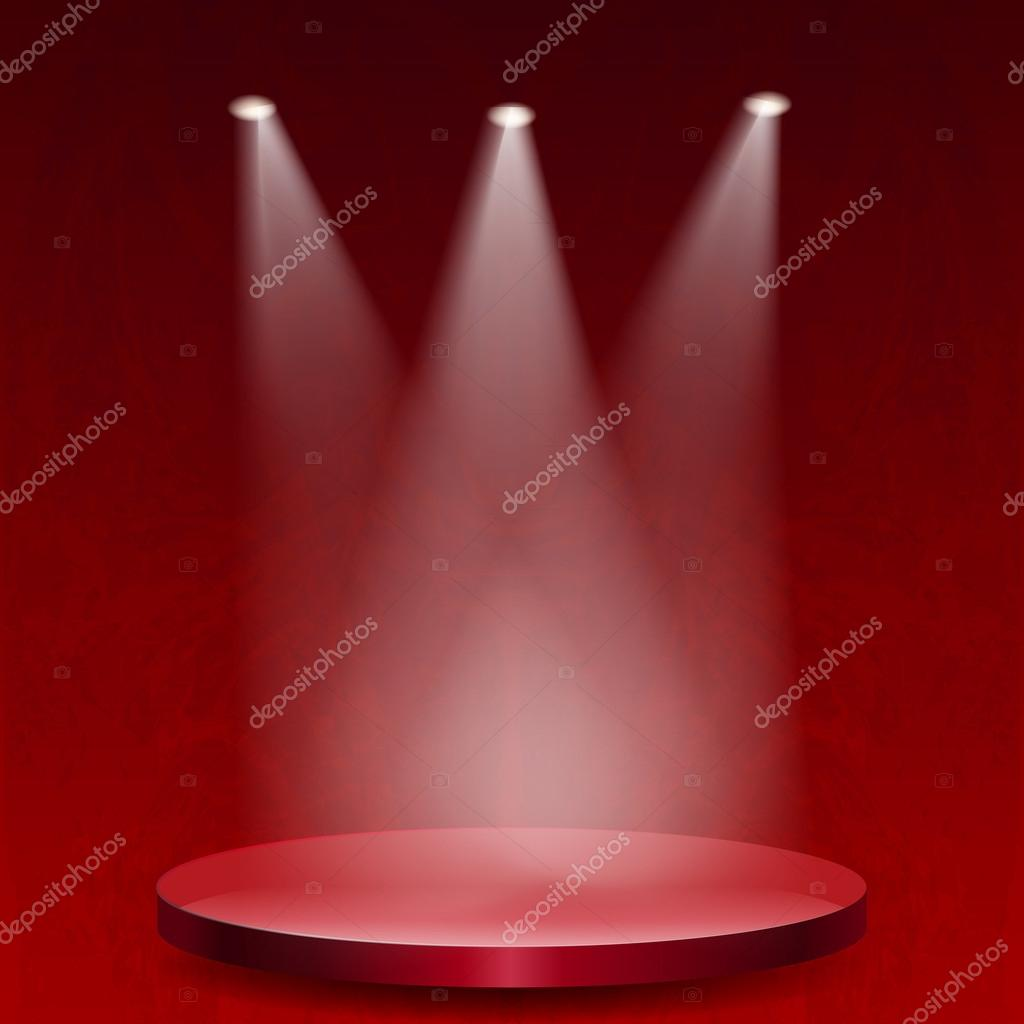 Empty stage lit with lights on red grunge background — Stock Vector © dgem22 #30653777