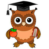 Cute owl with an apple and a book. Isolated on white background — Stock Vector