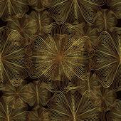 Naadloze patroon van goudgele bloemen op een zwarte achtergrond — Stockvector