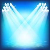 Spotlights and floodlights illuminate the scene. Laser light sho — Stock Vector