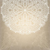 Beautiful wedding card with white lace round ornament on an old — Stock Vector