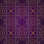 Golden seamless floral pattern on a purple background — Stock Vector
