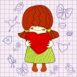 Funny drawing of girl with heart in hands. — Imagen vectorial