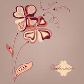 Karta kwiaty rysowane ręcznie — Wektor stockowy