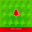 Christmas card with green and red Christmas trees — Stock Vector