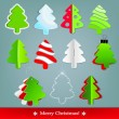Set of Christmas fir trees — Imagen vectorial