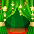 A scene with a green curtain and festive illuminations, background — Векторная иллюстрация