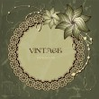 Openwork frame on vintage background with flowers — Stock Vector