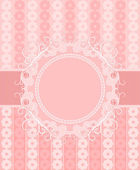 Pink frame with a ribbon on a gentle floral background — Stock Vector