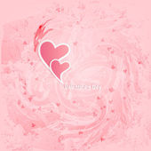 Výstřední textury s růžové srdce — Stock vektor