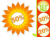 Set of stickers and labels for the summer sales — Stock Vector