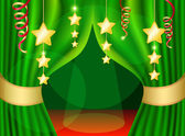 A scene with a green curtain and festive illuminations, background — Stock Vector
