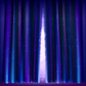 Abra ligeramente la cortina con estrellas y luces parpadeantes — Vector de stock