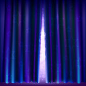 Slightly open curtain with stars and twinkling lights — Stockvector