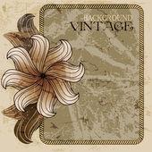 Eski kağıt ve çiçek Vintage çerçeve — Stok Vektör