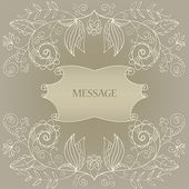 Beige wedding card with an openwork pattern — Stock Vector