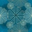 Seamless blue background with contour flowers — 图库矢量图片