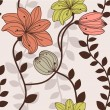 Seamless pattern with leaves and flowers — Stok Vektör