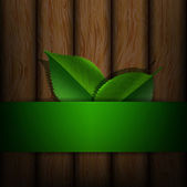 Green leaves on a background of wood texture — Stock Vector