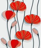 赤いケシのシームレスなパターン — ストックベクタ
