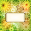 Flower background with butterfly and place for text — Stock Vector