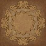 Красивая открытка с вензелями и текстура древесины — Cтоковый вектор