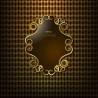 Beautiful gold frame on the background curtain with geometric pattern — Stock Vector