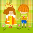 Boy and girl holding hands, kids, children — Stock Vector
