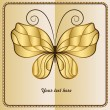 Card with golden butterfly — Stock Vector