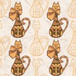Stock Vector: Seamless pattern with funny cute cats. Raster copy of vector image.