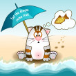Cat sits on the beach and dreams of fish, under an umbrella — Stock Vector