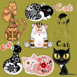 Stok Vektör: Set of funny cats in different design versions