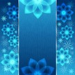 Stock Vector: Blue background with flowers and snowflakes