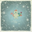 Funny Polar Bear in santa hat on vintage background, Christmas card.  — Vettoriali Stock