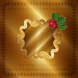 Gold frame Christmas frame with holly.  — Imagen vectorial