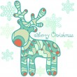 Christmas moose, greeting card. — Stock Vector