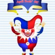 Funny Clown with his hands up, All Fools' Day — Stock Vector