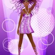 Disco woman on the catwalk wearing glasses and shiny dress — Stock Vector