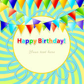 Card to the birthday with a garland of flags and shining stars. — Stockvector