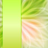 Delikatne zielone tło wstążka i płatki. — Wektor stockowy