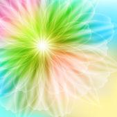 Hermosa tarjeta con la flor del arco iris — Vector de stock