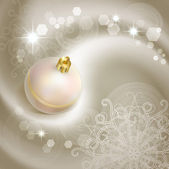 Christmas background with pearl Christmas tree ball. — Stock Vector