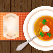 A plate of soup on a wooden table. — Stock Vector