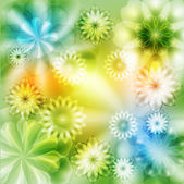 The green and yellow floral background. — ストックベクタ