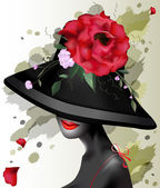Beautiful girl in a hat with flowers — Stock Vector