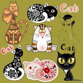 A set of funny cats in different design versions — Cтоковый вектор