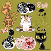 Un conjunto de gatos graciosos en versiones diferentes de diseño — Vector de stock