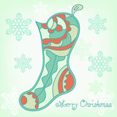 Christmas boots, the original postcard. — Stock Vector