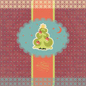 Vintage card with Christmas tree. — Stock Vector